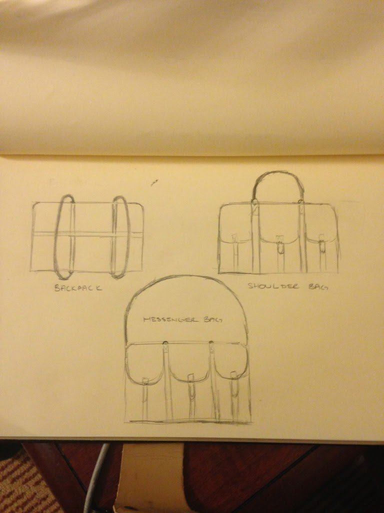 initial sketches in making the best and/or coolest diaper bag for dads