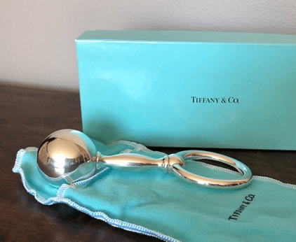 silver baby rattle from Tiffany's