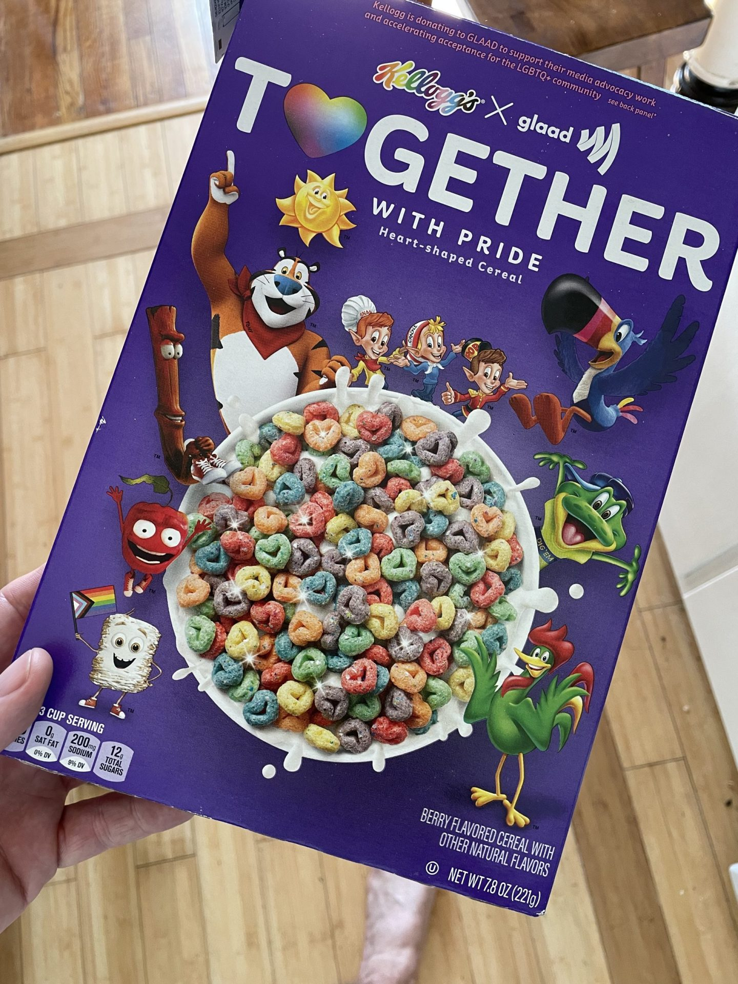 """Kellogg's Pride-edition """"Together"""" cereal box. They may not make the best diaper bag for dads, but I'm feeling the love for my children."""